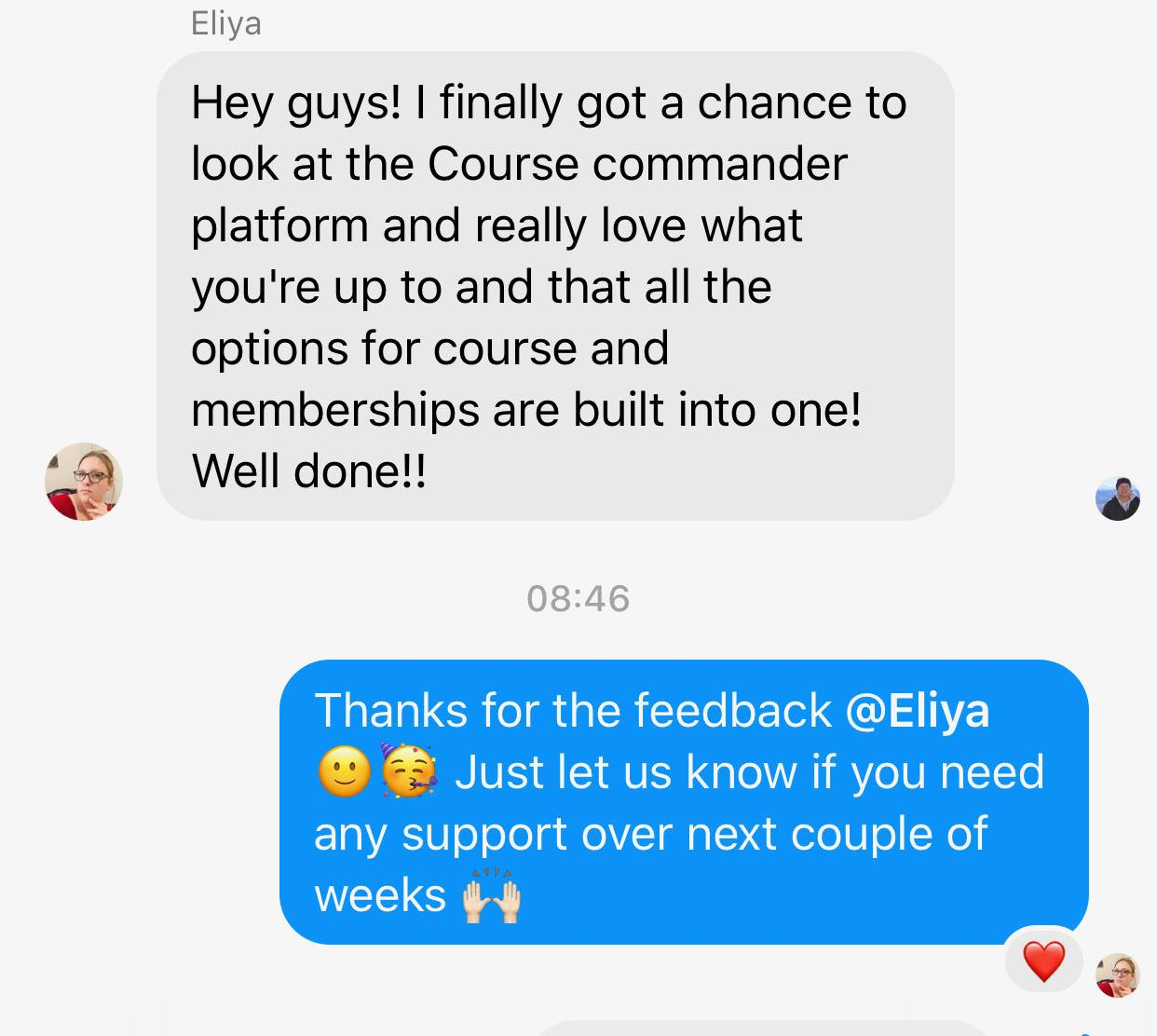 Eliya Course Commander Feedback